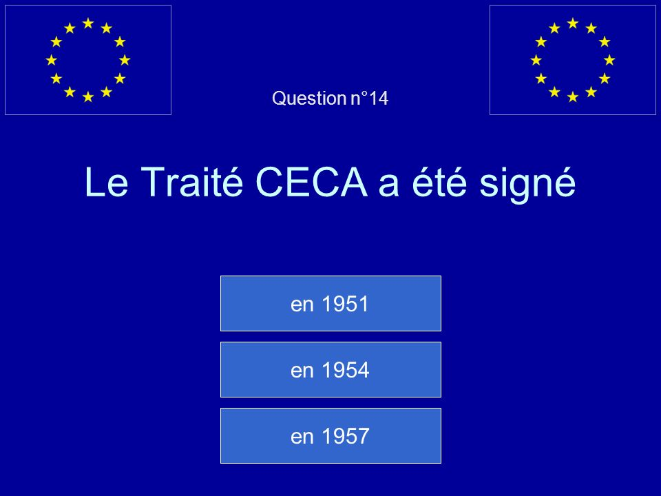 Question n°14 Le Traité CECA a été signé