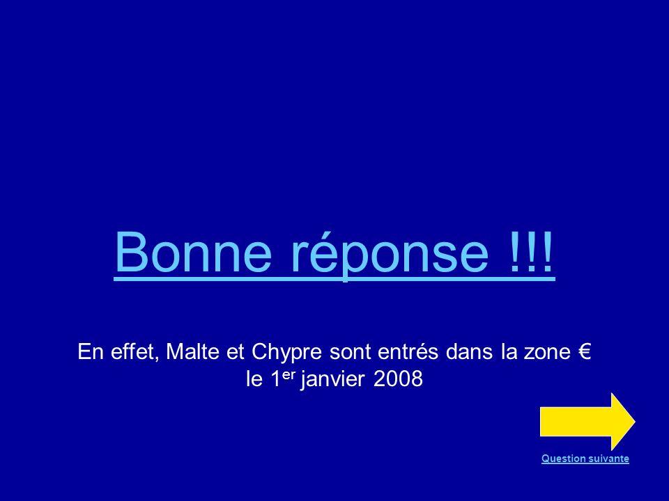 Bonne réponse !!. En effet, Malte et Chypre sont entrés dans la zone € le 1er janvier 2008.
