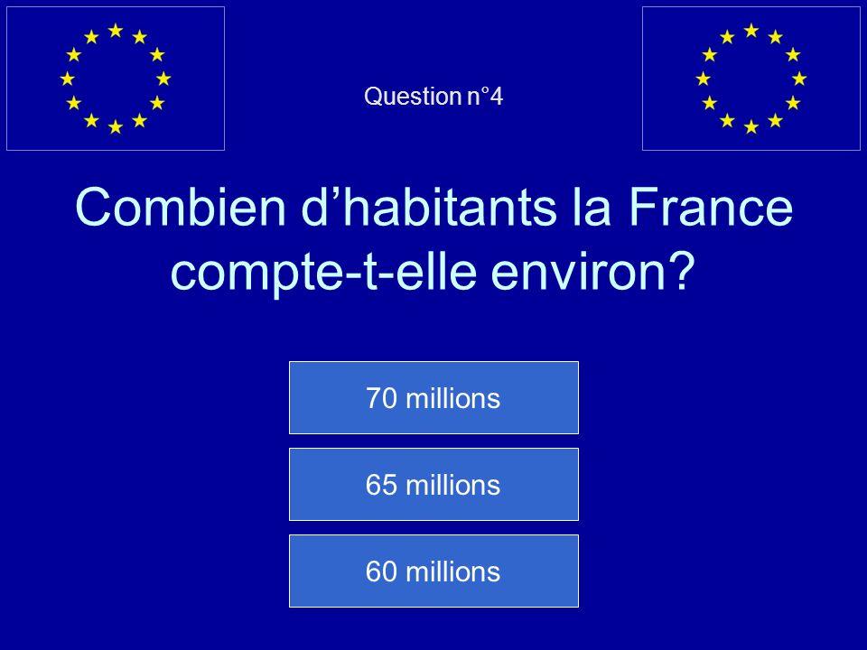 Question n°4 Combien d'habitants la France compte-t-elle environ