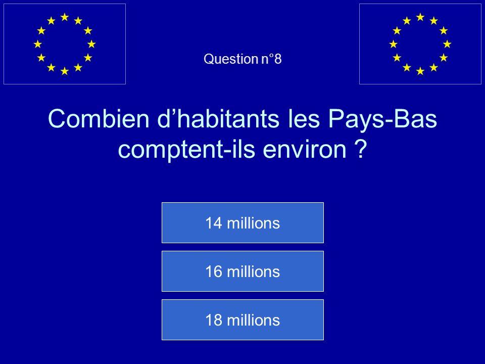 Question n°8 Combien d'habitants les Pays-Bas comptent-ils environ