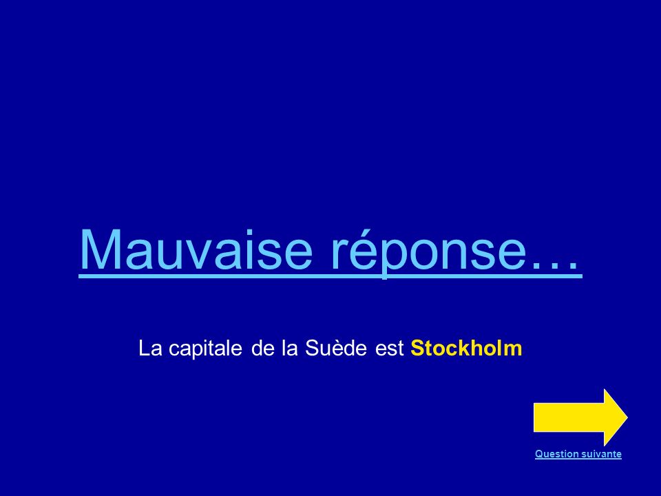 La capitale de la Suède est Stockholm