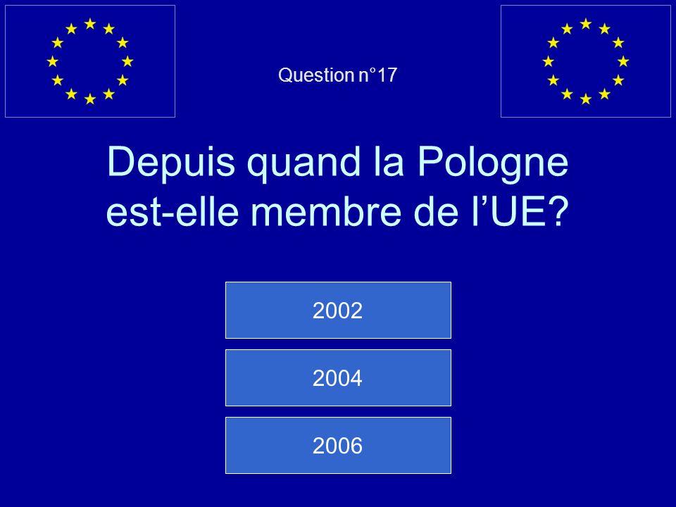 Question n°17 Depuis quand la Pologne est-elle membre de l'UE
