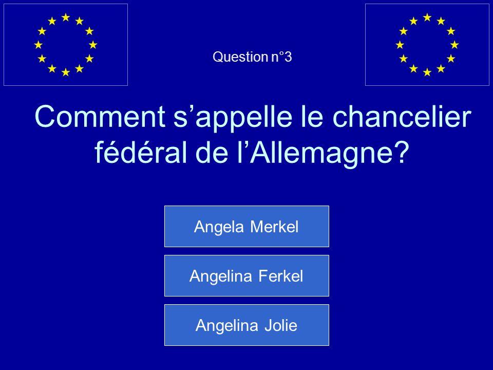 Question n°3 Comment s'appelle le chancelier fédéral de l'Allemagne