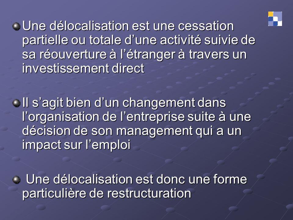 Une délocalisation est une cessation partielle ou totale d'une activité suivie de sa réouverture à l'étranger à travers un investissement direct