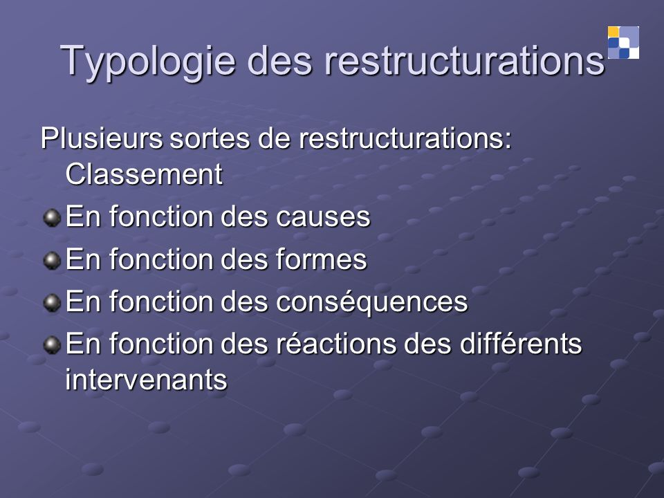 Typologie des restructurations