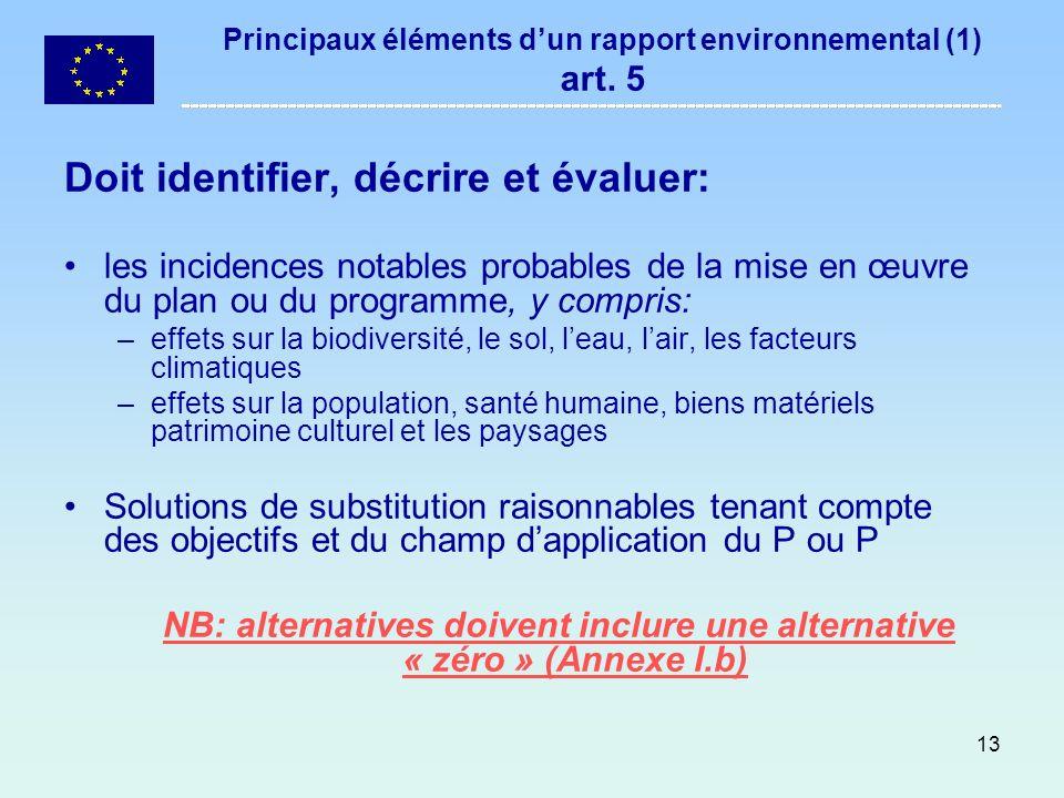 Principaux éléments d'un rapport environnemental (1) art. 5