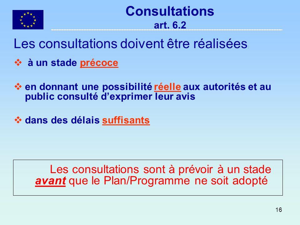 Les consultations doivent être réalisées: