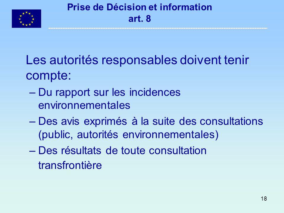 Prise de Décision et information art. 8