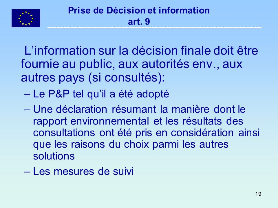 Prise de Décision et information art. 9