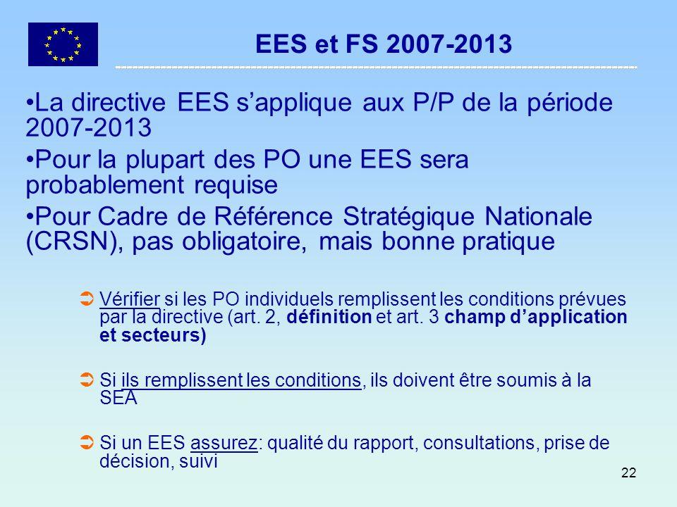 La directive EES s'applique aux P/P de la période 2007-2013