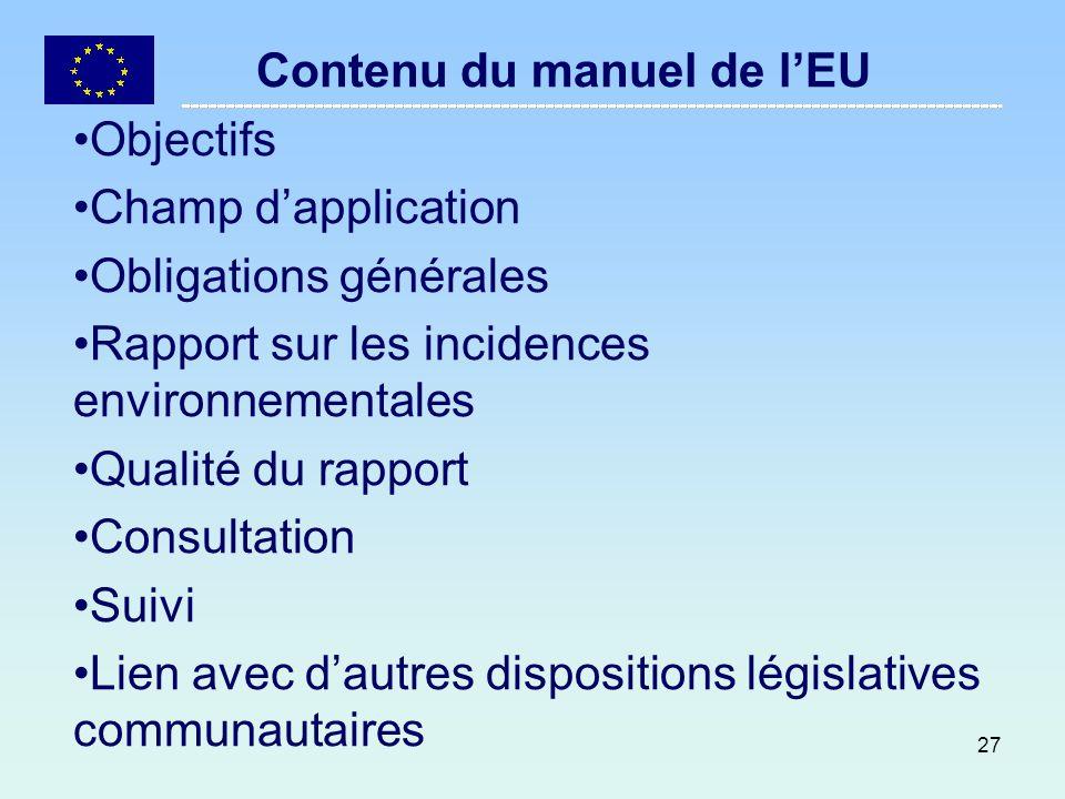 Contenu du manuel de l'EU
