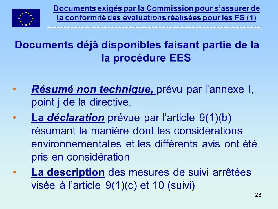 Documents déjà disponibles faisant partie de la la procédure EES