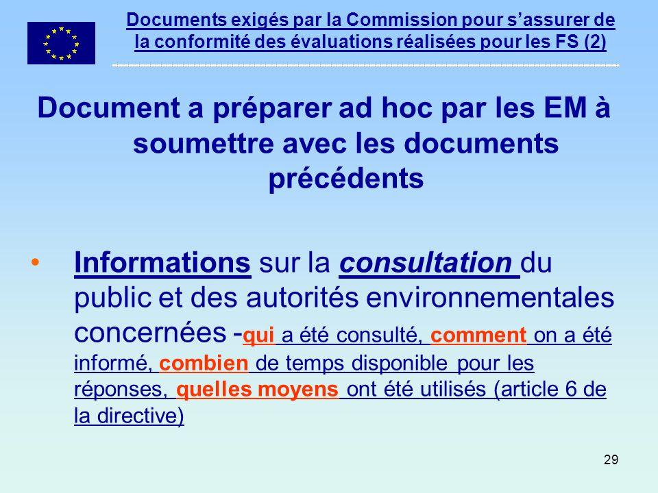 Documents exigés par la Commission pour s'assurer de la conformité des évaluations réalisées pour les FS (2)