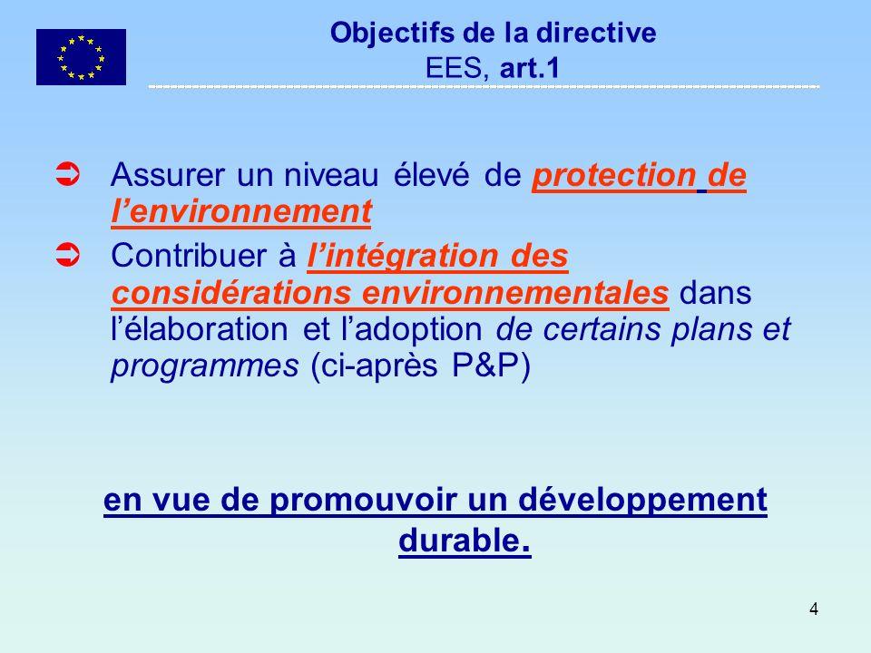 Objectifs de la directive EES, art.1