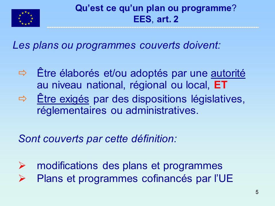 Qu'est ce qu'un plan ou programme EES, art. 2