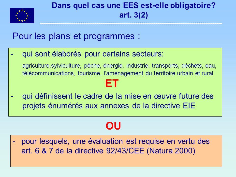 Dans quel cas une EES est-elle obligatoire art. 3(2)