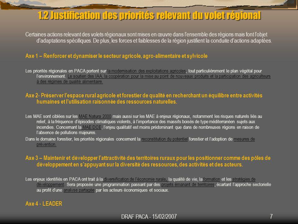 1.2 Justification des priorités relevant du volet régional
