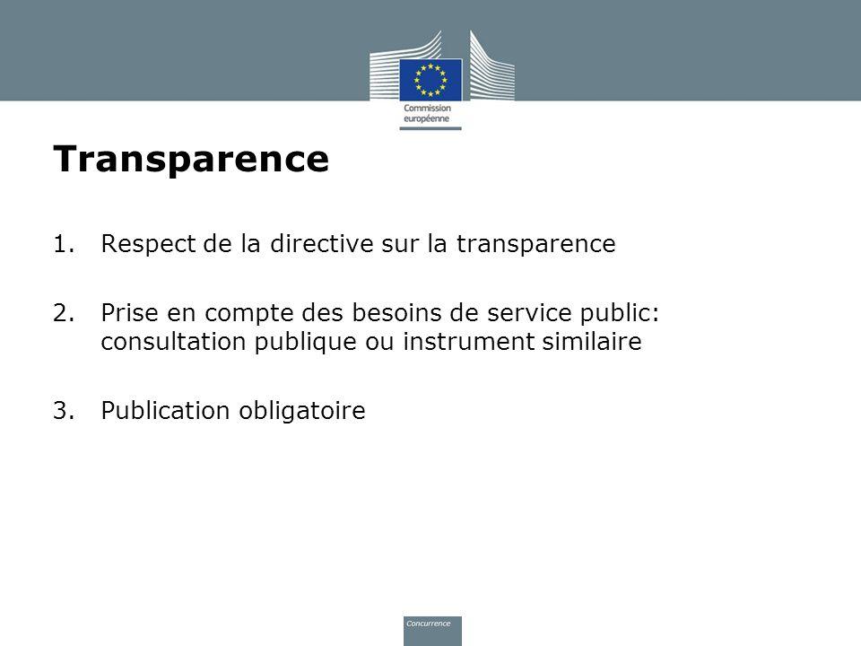 Transparence Respect de la directive sur la transparence