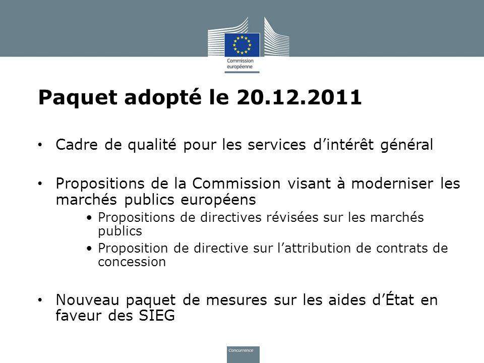 Paquet adopté le 20.12.2011 Cadre de qualité pour les services d'intérêt général.