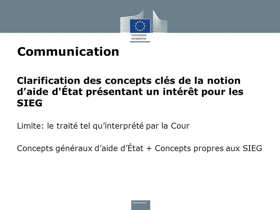 Communication Clarification des concepts clés de la notion d'aide d État présentant un intérêt pour les SIEG.