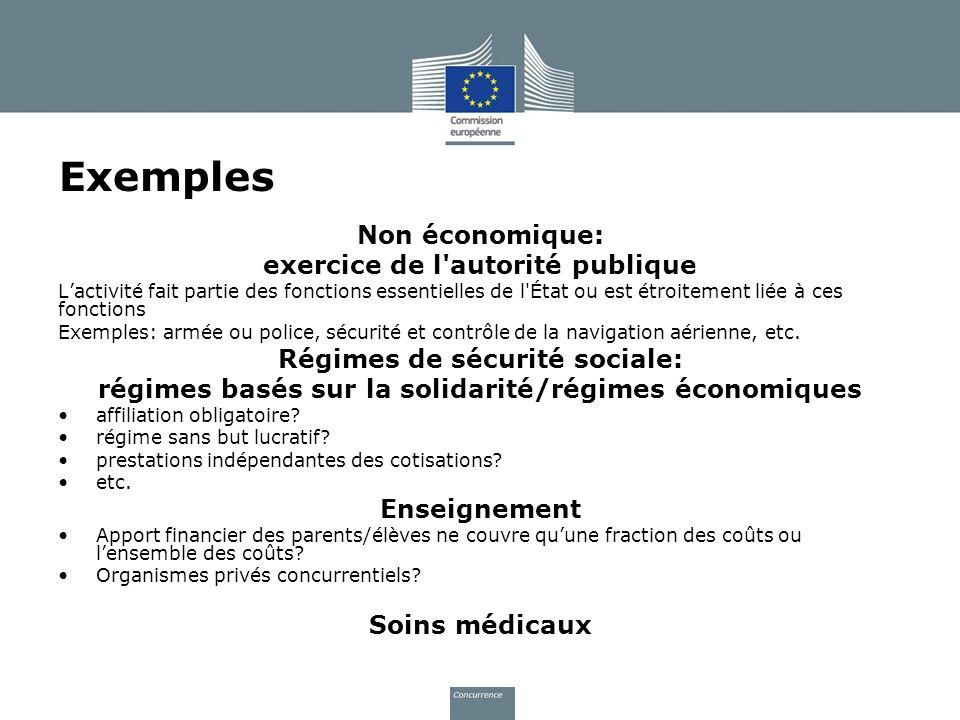 Exemples Non économique: exercice de l autorité publique