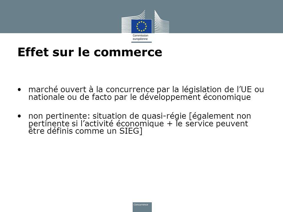 Effet sur le commerce marché ouvert à la concurrence par la législation de l'UE ou nationale ou de facto par le développement économique.