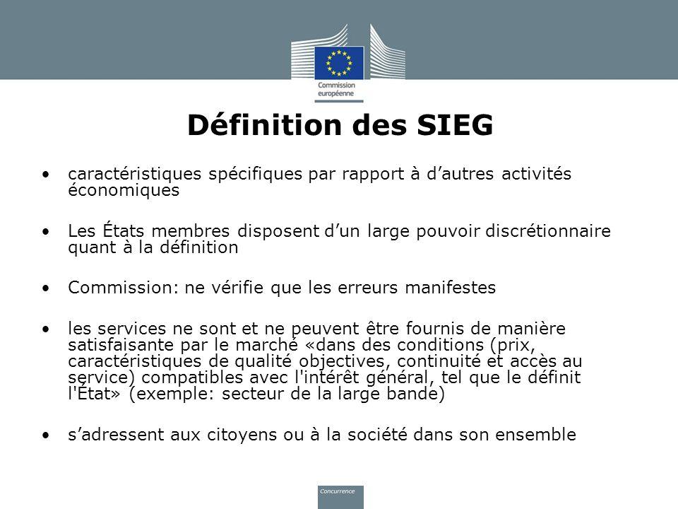 Définition des SIEG caractéristiques spécifiques par rapport à d'autres activités économiques.