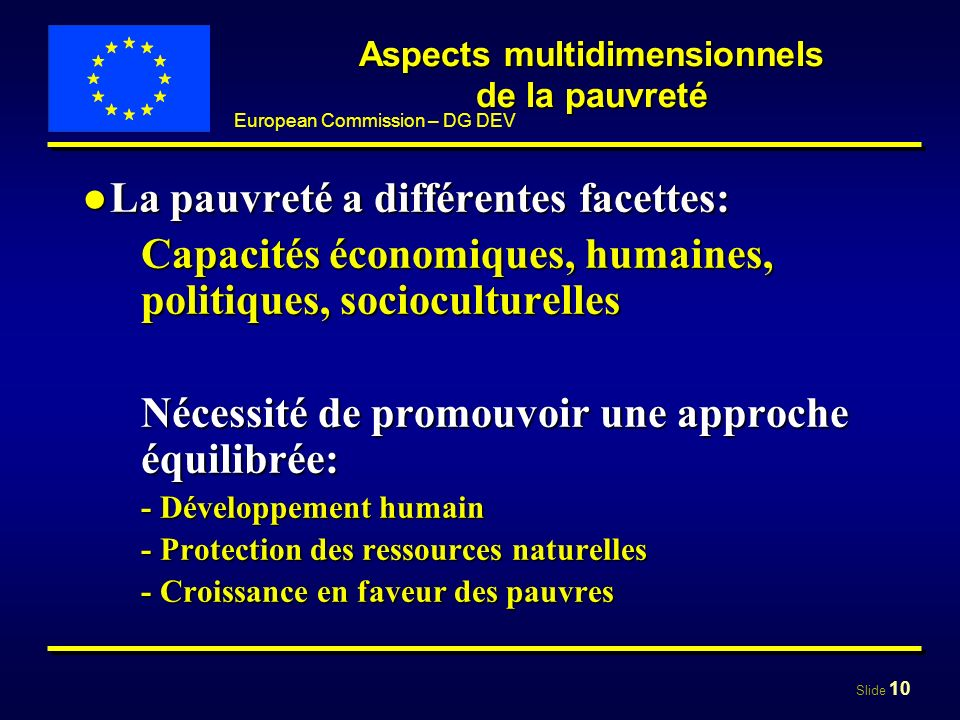 Aspects multidimensionnels de la pauvreté