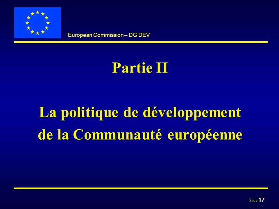 La politique de développement de la Communauté européenne