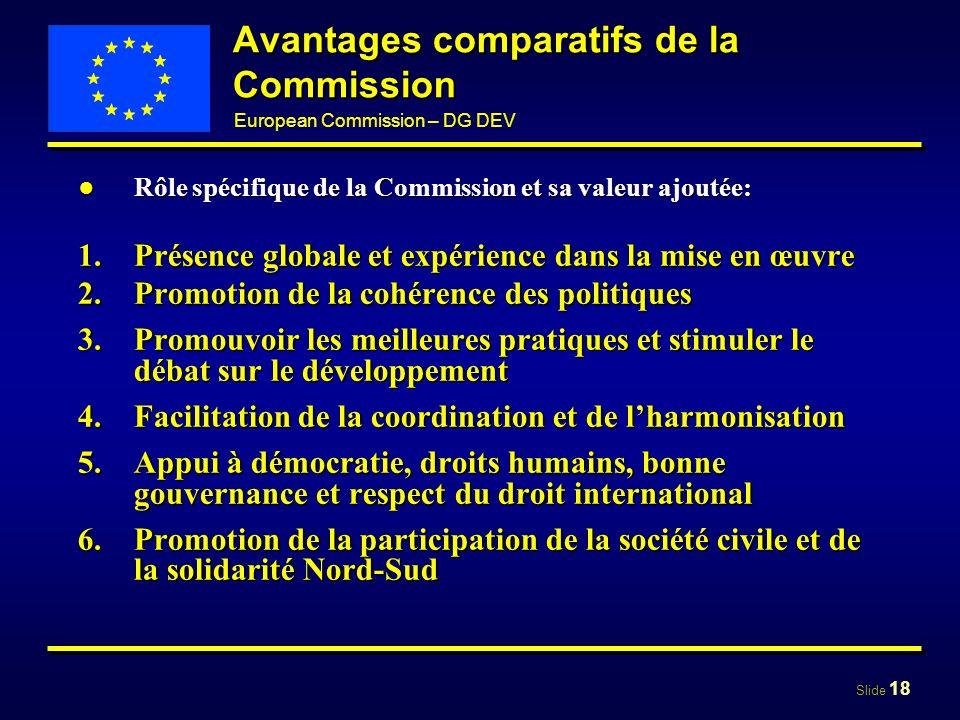 Avantages comparatifs de la Commission