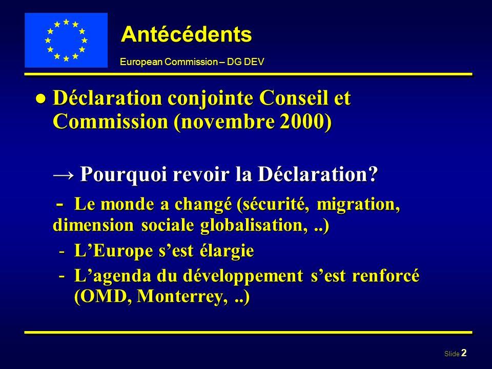 Déclaration conjointe Conseil et Commission (novembre 2000)