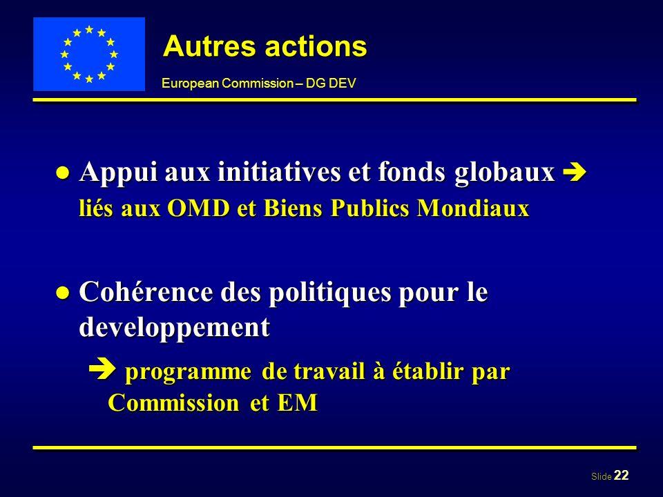 Autres actions Appui aux initiatives et fonds globaux  liés aux OMD et Biens Publics Mondiaux. Cohérence des politiques pour le developpement.