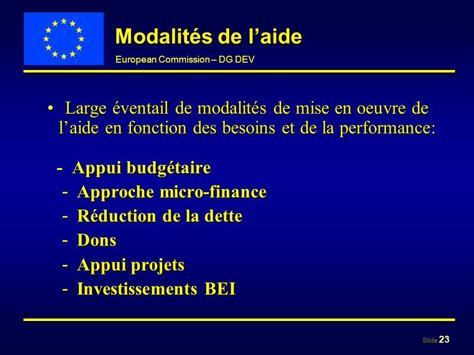 Modalités de l'aide Large éventail de modalités de mise en oeuvre de l'aide en fonction des besoins et de la performance: