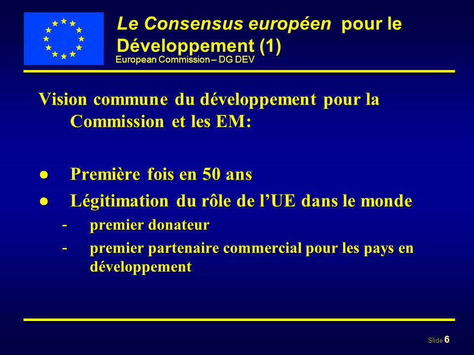 Le Consensus européen pour le Développement (1)