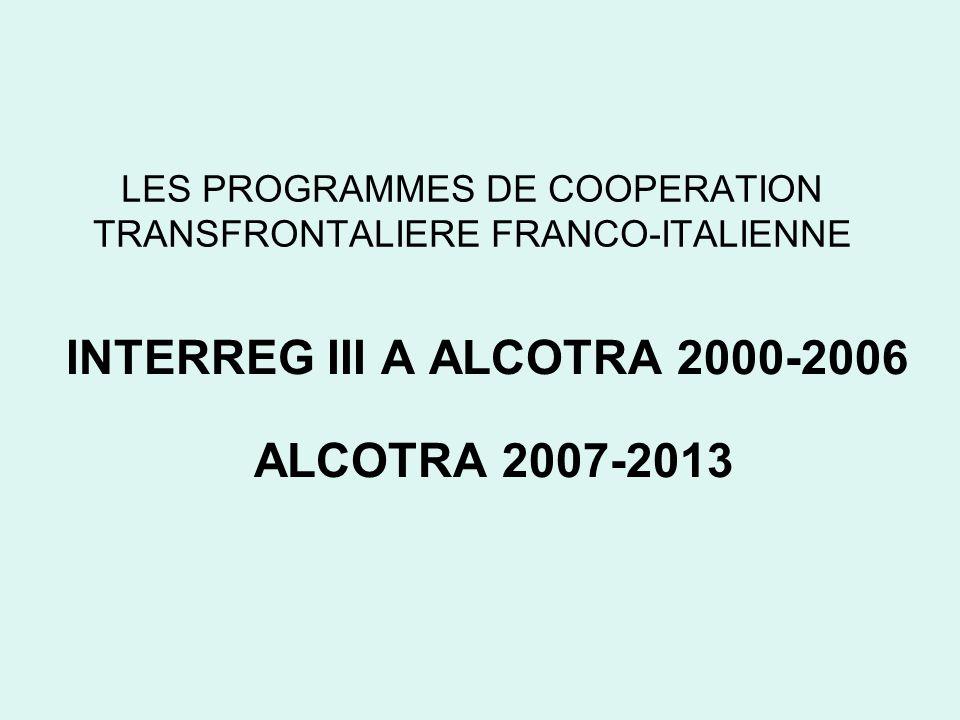 LES PROGRAMMES DE COOPERATION TRANSFRONTALIERE FRANCO-ITALIENNE