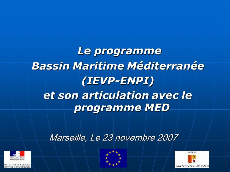 Bassin Maritime Méditerranée et son articulation avec le programme MED