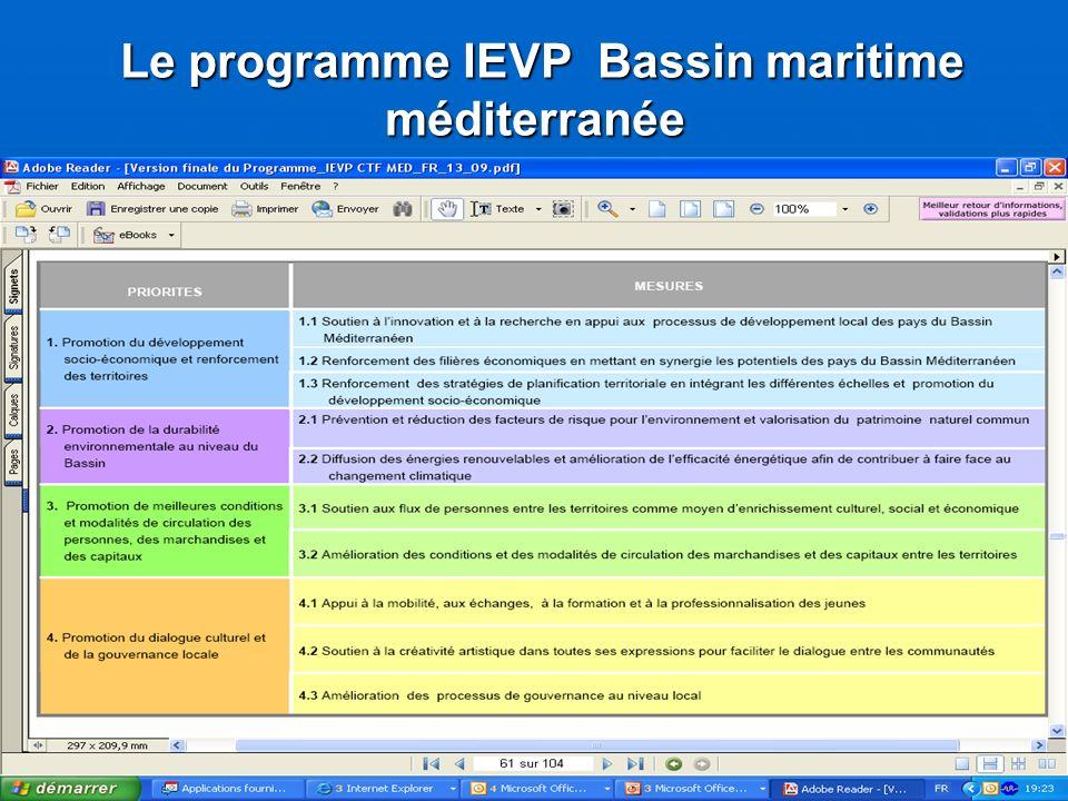 Le programme IEVP Bassin maritime méditerranée