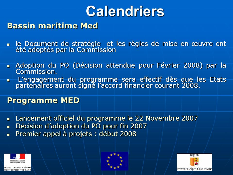 Calendriers Bassin maritime Med Programme MED