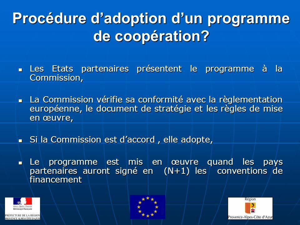 Procédure d'adoption d'un programme de coopération