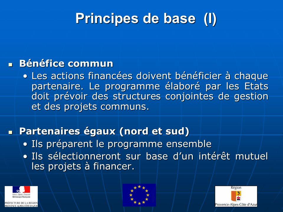 Principes de base (I) Bénéfice commun