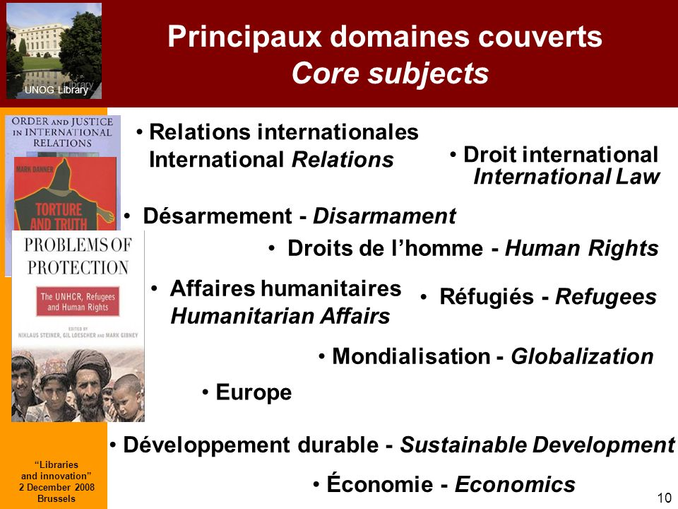 Principaux domaines couverts Core subjects