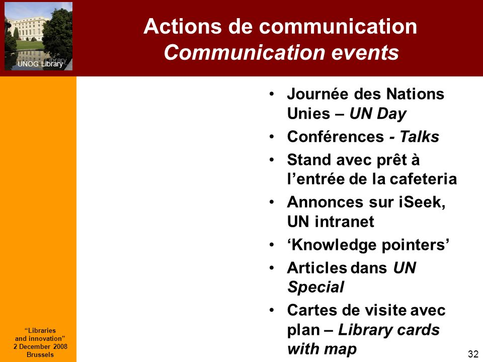 Actions de communication Communication events