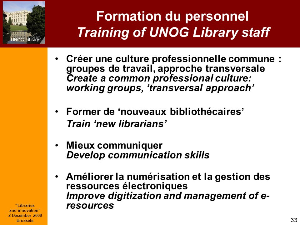 Formation du personnel Training of UNOG Library staff