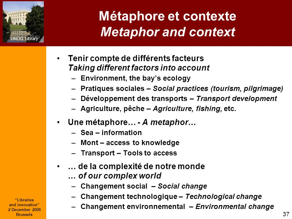 Métaphore et contexte Metaphor and context