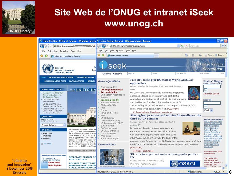 Site Web de l'ONUG et intranet iSeek www.unog.ch