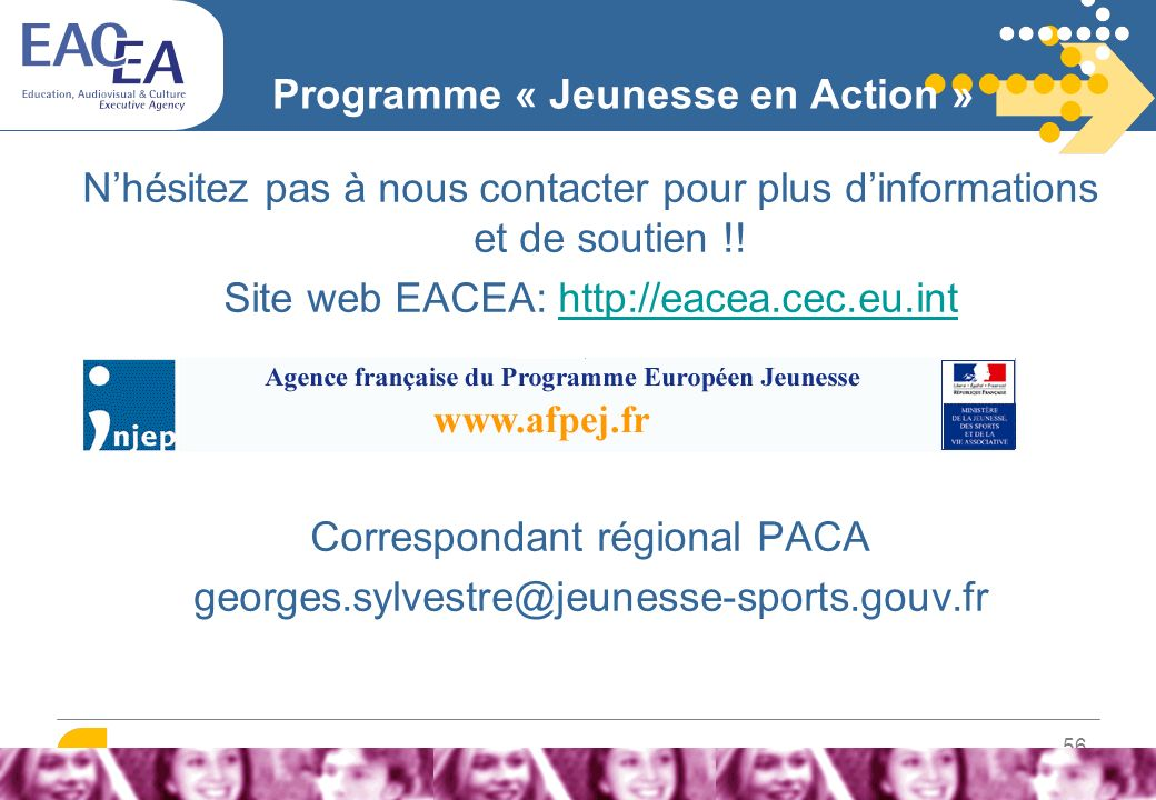 Plus d'informations EACEA – CONTACTS: YOUTH HELPDESK