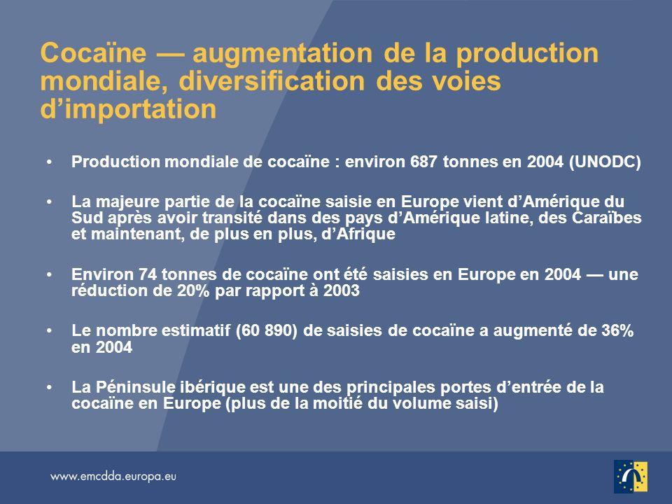 Cocaïne — augmentation de la production mondiale, diversification des voies d'importation