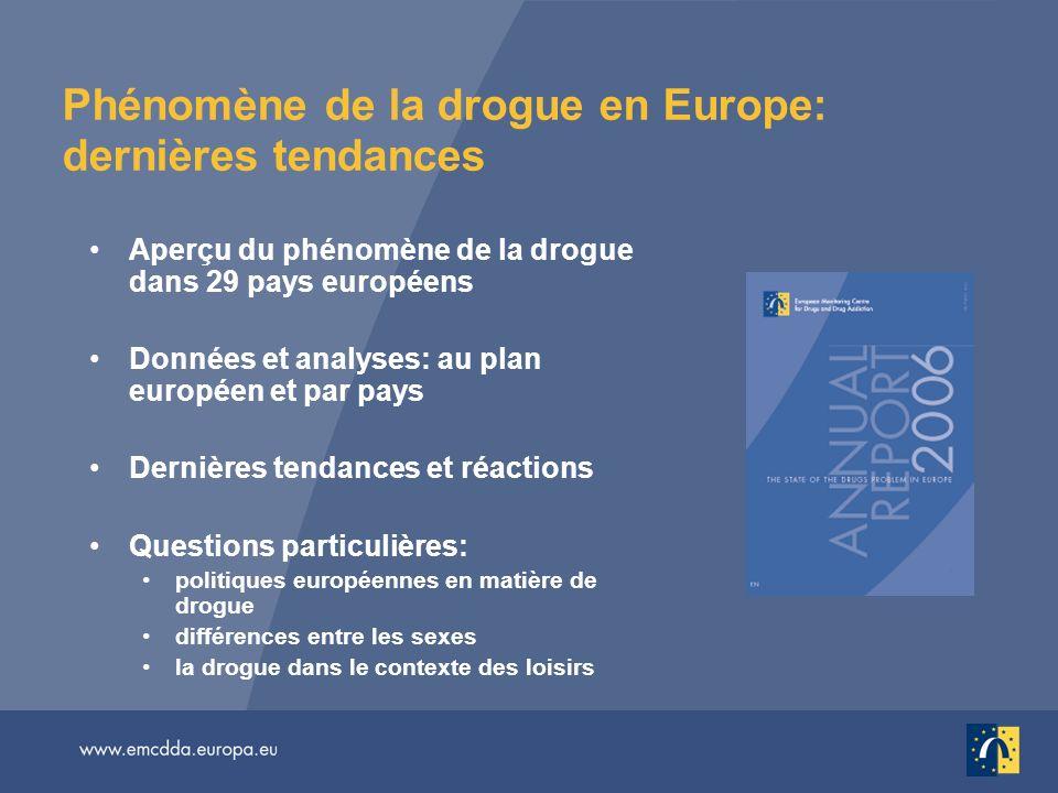 Phénomène de la drogue en Europe: dernières tendances