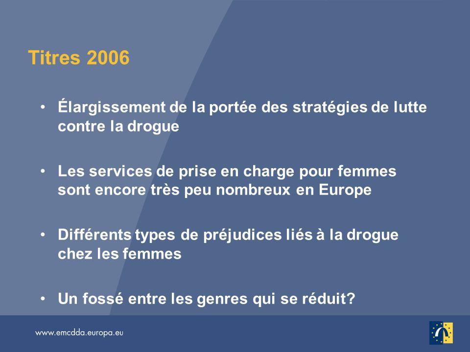 Titres 2006 Élargissement de la portée des stratégies de lutte contre la drogue.