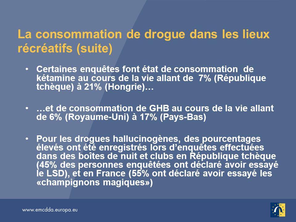 La consommation de drogue dans les lieux récréatifs (suite)